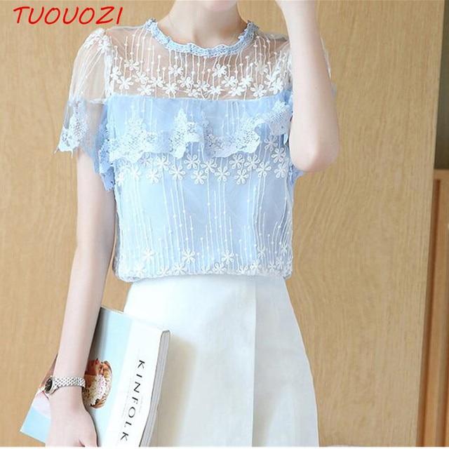 Женщины блузки кружева с коротким рукавом летом женщины топы 2017 новая мода корейский выдалбливают дамы рубашка офис женский clothing