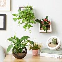2 Pz Wall Hanging Vaso da Fiori Set di Plastica A Parete e Desktop Cesto Coperto Giardino Vasi di Fiori Fioriera, rotonda e Quadrata, piccolo