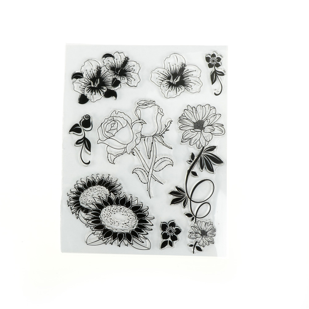 Mengxiang Rose Leaf Metal Cutting Dies Or Transparent Clear Stamp