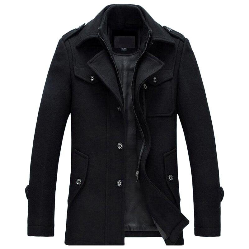 Зимняя куртка Для мужчин утолщение Шерстяное пальто Slim Fit Куртки модная верхняя одежда; теплый человек повседневная куртка пальто бушлат пл...