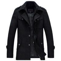 Kış Ceket Erkek Kalınlaşma Yün Ceket Slim Fit Ceketler Moda kabanlar Sıcak Adam Rahat Ceket Palto Bezelye Ceket Artı Boyutu 3XL