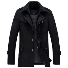 Winterjacke Männer Verdickung Wollmantel Slim Fit Jacken Fashion oberbekleidung Warm Man Casual Jacke Mantel Pea Coat Plus Größe 3XL(China)