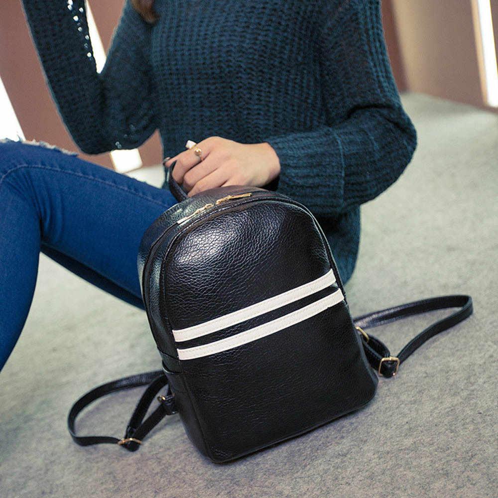 68dffaba12a3 college wind Backpack Women Fashion Stripe leather Satchel School Backpack  Mochila Feminina sac a dos