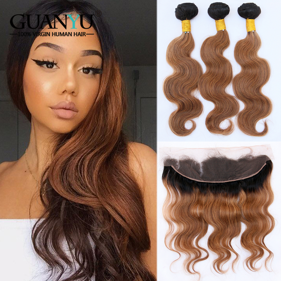 Guanyuhair Pre-Colored 100% Human Hair Weave 1B/30 <font><b>Ombre</b></font> <font><b>Peruvian</b></font> <font><b>Body</b></font> <font><b>Wave</b></font> Hair <font><b>Bundles</b></font> <font><b>With</b></font> Frontal <font><b>Closure</b></font> Remy Hair image