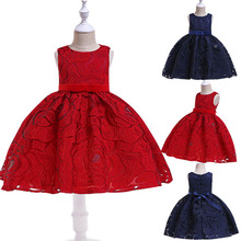 Girls Dress 2019 Wedding Lace Kids Dresses for Girls Clothes Elegant Flower Birthday Party Princess Vestidos 3 4 5 6 7 8 Years princess lace dresses for girls long sleeve ruffles dresses infant vestidos children clothes 4 6 8 10 12 years kids formal dress