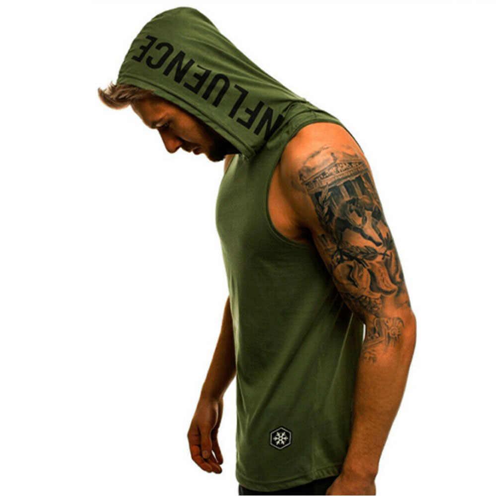 Di Estate di modo Mens Senza Maniche Con Cappuccio T-Shirt Muscolo Felpa Hoody Fresco Magliette e camicette PALESTRA di Sport Sottile di Forma Fisica Con Cappuccio Sportswer Magliette