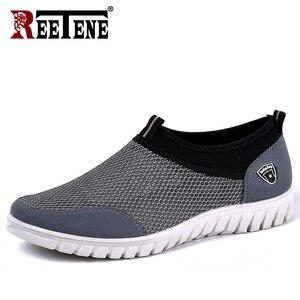 Image 5 - REETENE Zapatillas deportivas de malla para hombre, zapatos informales transpirables, sin cordones, informales, para caminar, 38 a 48, para verano, 2019