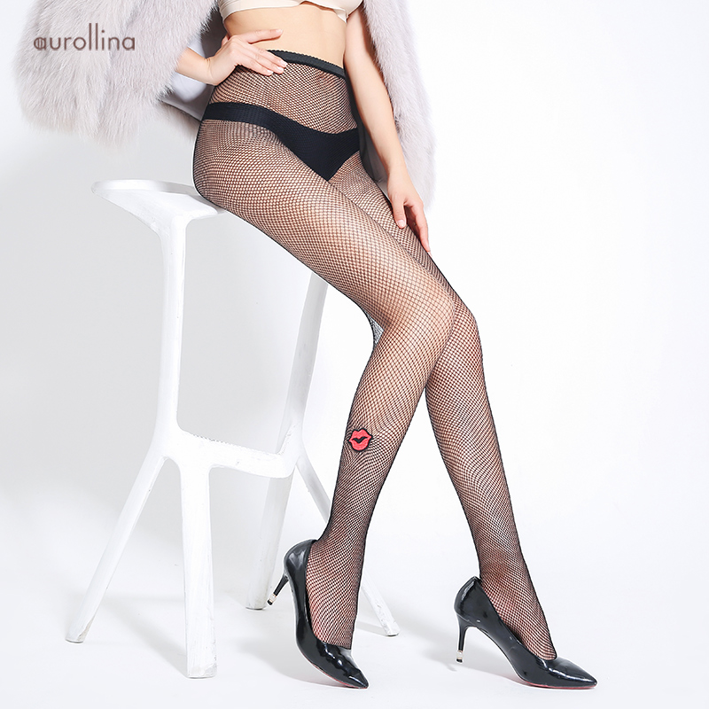 Hickey Embroider Stocking Tights Flower Jacquard Pantyhose Red Lips Tightly Knitted Net Sexy Fishnet Black