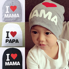 I Love Papa Mama Print Soft Warm Hat Knitted Caps Cotton Beanie For Unisex Baby Boy Girl Kids Toddler Infant