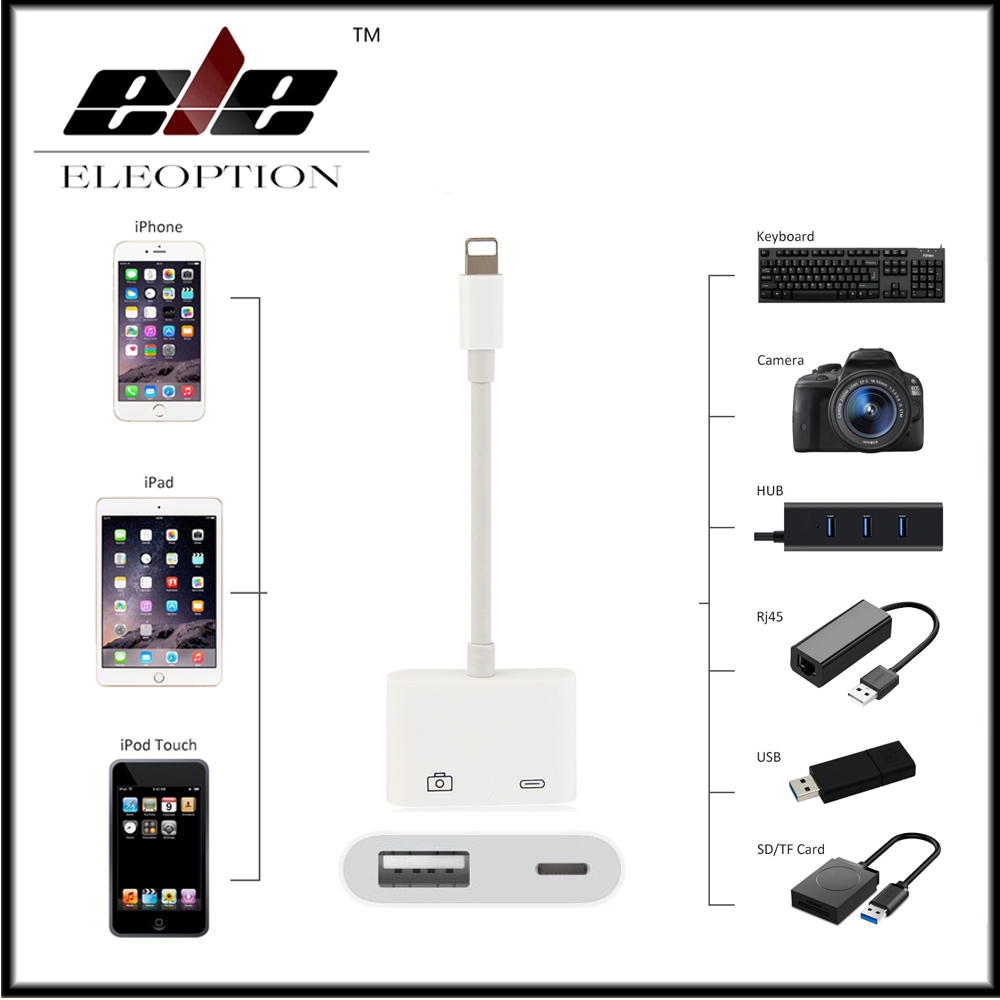 цена на For Mini Lightning to USB 3 Camera Reader Adapter for iPhone X 8 5 5s 6 6s 7 7 plus for iPad Series
