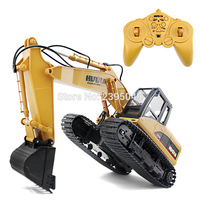 New Excavator Contral Toy 15 Channel 2.4g 1/12 Rc Plastic Excavator Charging RC Car Battery Kid Toy For Children Excavator HuiNa