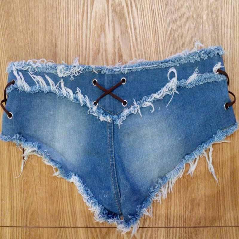 Lato kobiety Sexy dżinsy Denim spodenki bawełniane sznurowane otwór przycisk Skinny Femme super krótkie dżinsy