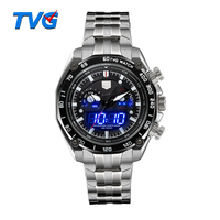TVG Fashion Dual Time Watch Luminous Digital High Quality Stainless Steel Man Wristwatch Waterproof Sport Relogio Masculino