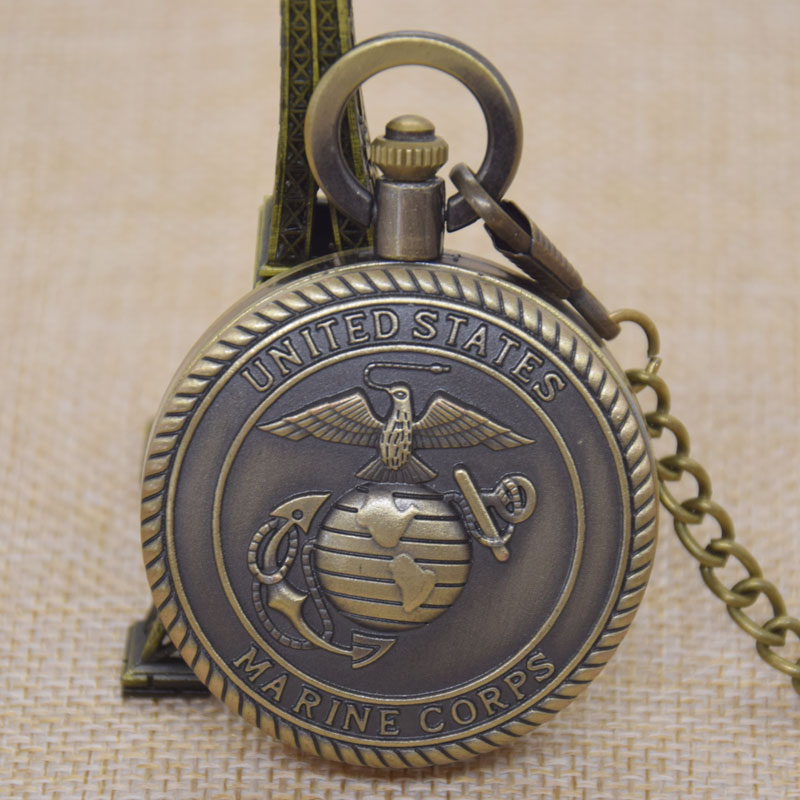United States Marine Corps Usmc Badge Symbol Bird Map Earth Bronze Quartz Pocket Watch Clock Belt Chain Gift For Men Male Boy In Pocket Fob Watches From