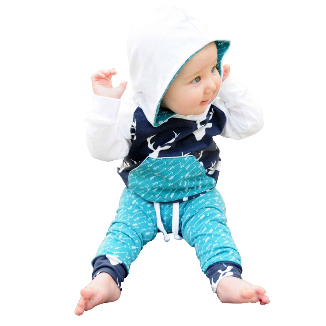 2Pcs Toddler Baby Boys Girls Deer Hoodie Tops Pants Outfits Set Clothes 0-6 Months