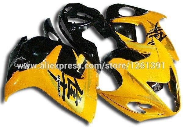 Подходит инъекции желто-черные Обтекатели для SUZUKI hayabsa GSXR1300 2008 2009 GSX-R1300 GSXR 1300 08 09 обтекателя комплекты# YY22ew