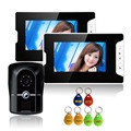 "7"" LCD Wired Home Video Intercom Door Phone System One With Two Video Doorphone IP55 For Home Security Video Door Phone System"
