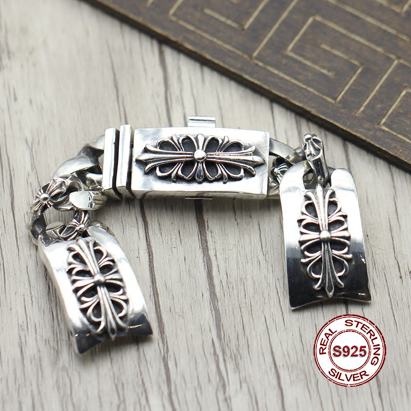S925 in argento sterling catena di vigilanza di Personalità retro punk stile Crociato spendere arroganza di massima dei monili del braccialetto di Inviare regalo per l'amante