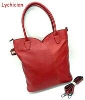 Fall Winter Christmas Bag 30X12X40CM Big Capacity Geniune Leather Shoulder Bag Tote Lychee Pattern Heart Design