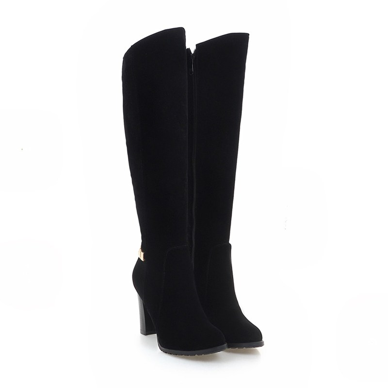 ФОТО New Style Black Suede Leather Women Long Boots High Heels Rhinestones Warm Winter Shoes Size 34-43 7767