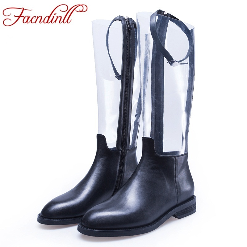 FACNDINLL brand knee high boots women thick heels autumn winter long party prom shoes woman round toe ladies date boots woman