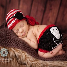 Hot Sale Baby Crochet Party Costume Pirate Design Knitted Baby Beanies Pirate Patch and Pants Set Newborn Photo Props цена и фото