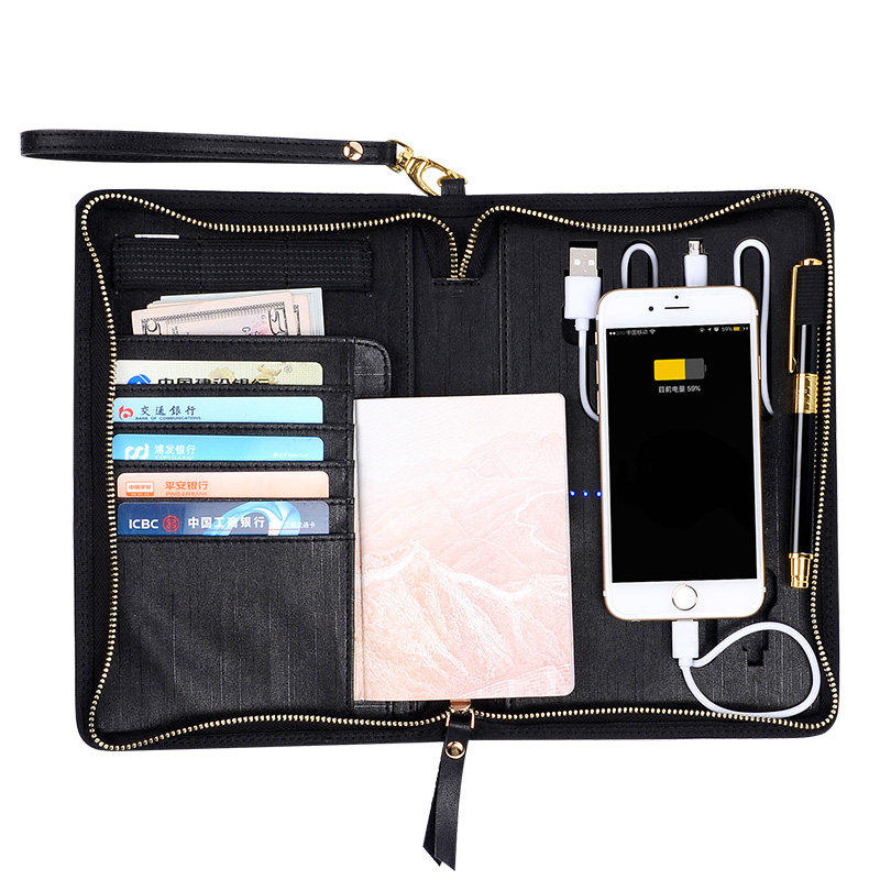 Padfolio with font b Calculator b font PU Portfolio Leather Conference Document Holder with 3000mAh Power