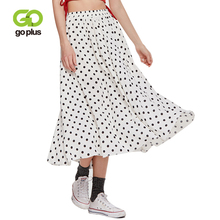 GOPLUS 2019 Spring Fashion Polka Dot Chiffon Skirt Women High Waist long Elegant plus size Vintage female Boho Maxi