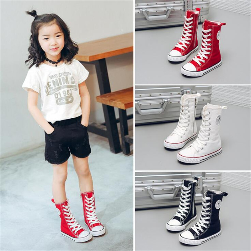 2018 Spring And Autumn Child Canvas Shoes White High Sneakers Shoes Sport Shoes Male Shoes Girls