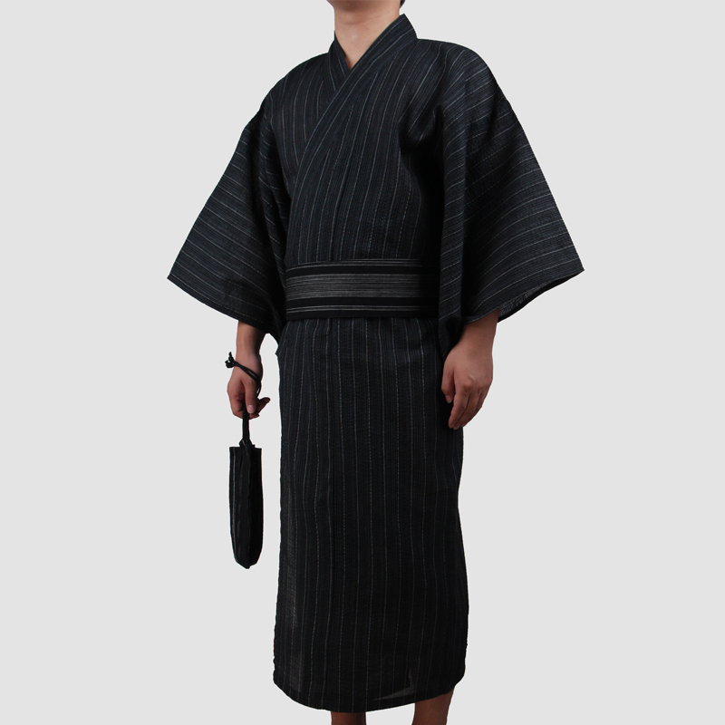3pc/set Kimono Suit Male Traditional Japanese Kimono With Obi Mens 100% Cotton Bath Robe Yukata Man Kimono Nightgown A52603