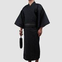 3pc/set Kimono suit Male Traditional Japanese Kimono with Obi Mens 100% Cotton Bath Robe Yukata Man Kimono Nightgown A52603