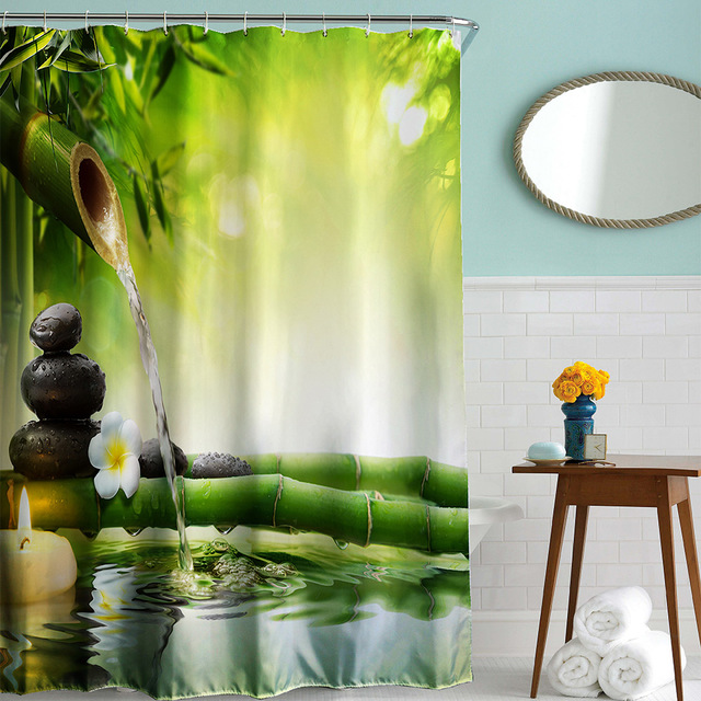 Charming 180 X 180cm Bathroom Shower Curtain Zen Water Bamboo Printed Polyester 3D Shower  Curtains With 12