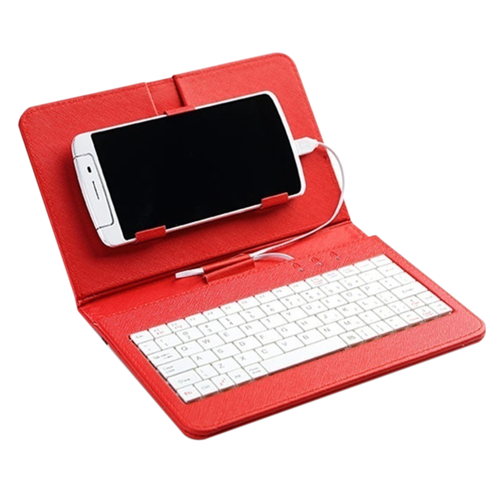 2019 Hot Sales Portable PU Leather Keyboard Case For Samsunge Protective Keyboard For 4.8-6.0 Inch Mobile Phone