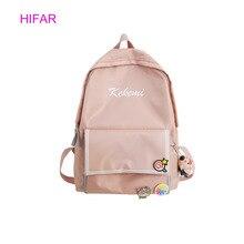 HIFAR Women Backpack For School Teenagers Girls Kawaii Bag 2019 Bookbag Canvas Female Backbag Rucksack with Fur Ball