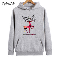 PyHenPH Sweatshirt 2017 Winter Deer Print Full Sleeve Fleece Pullovers Hoodies Women Fuuny We Love Deer