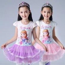 Novo verão sofia roupas infantis de manga curta algodão vestido de festa de aniversário menina pettiskirt cosplay vestido de princesa