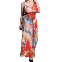 plus size summer 2016 robe longue femme tropical red floral african print dress elegant lace halter wrap beach maxi vestido 6xl