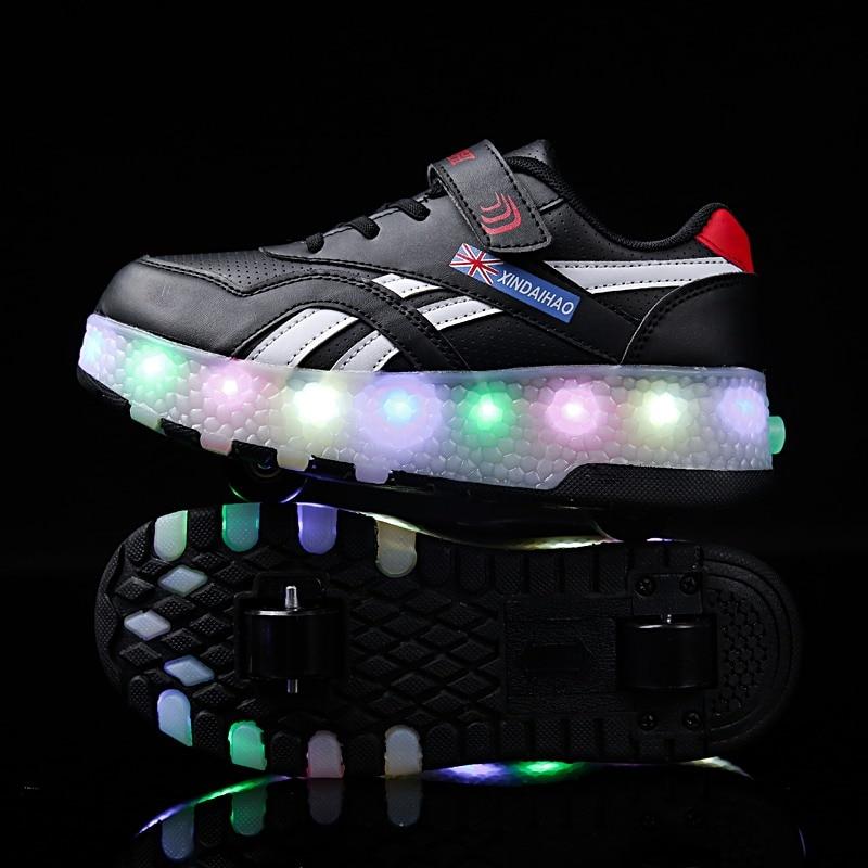 Two Wheels Luminous Sneakers USB Charging Led Light Roller Skate Shoes for Children Kids Shoes Boys Girls Shoes Light Up Unisex