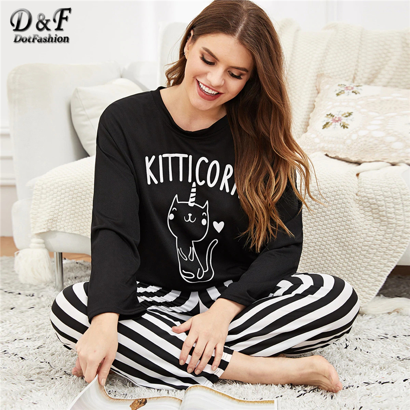 e342387a4c3 Dotfashion Plus Size Cat Print Top And Striped Pants Pajamas For Women 2019  Casual Black And