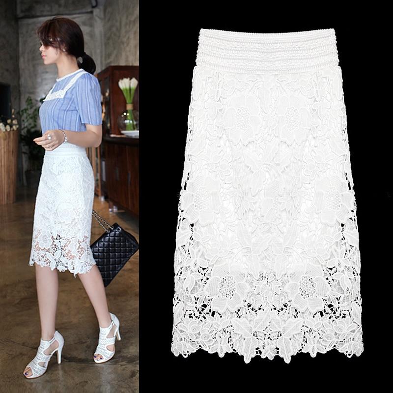 6XL 7XL Plus Size Women Midi Lace Skirt Black White Formal Office ...