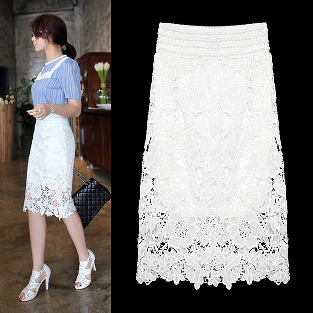 1c68d4934 Woman Skirts Plus Size Women Midi Lace Skirt Black White Formal Office  Pencil Skirts Summer Style Jupe