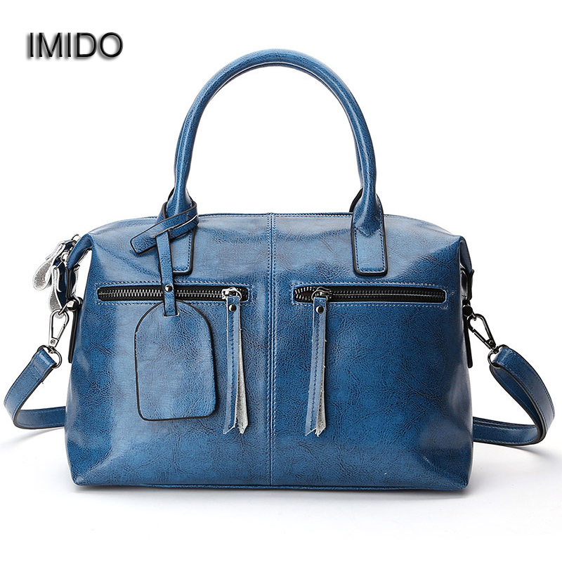 IMIDO Fashion Women Tote bag Genuine Leather Handbag Female Boston Charm Luxury Messenger Crossbody Shoulder Bag Bolsa HDG077 imido new fashion handbag pu leather bags women casual tote shoulder bag crossbody luxury brand bolsa feminina orange red hdg076