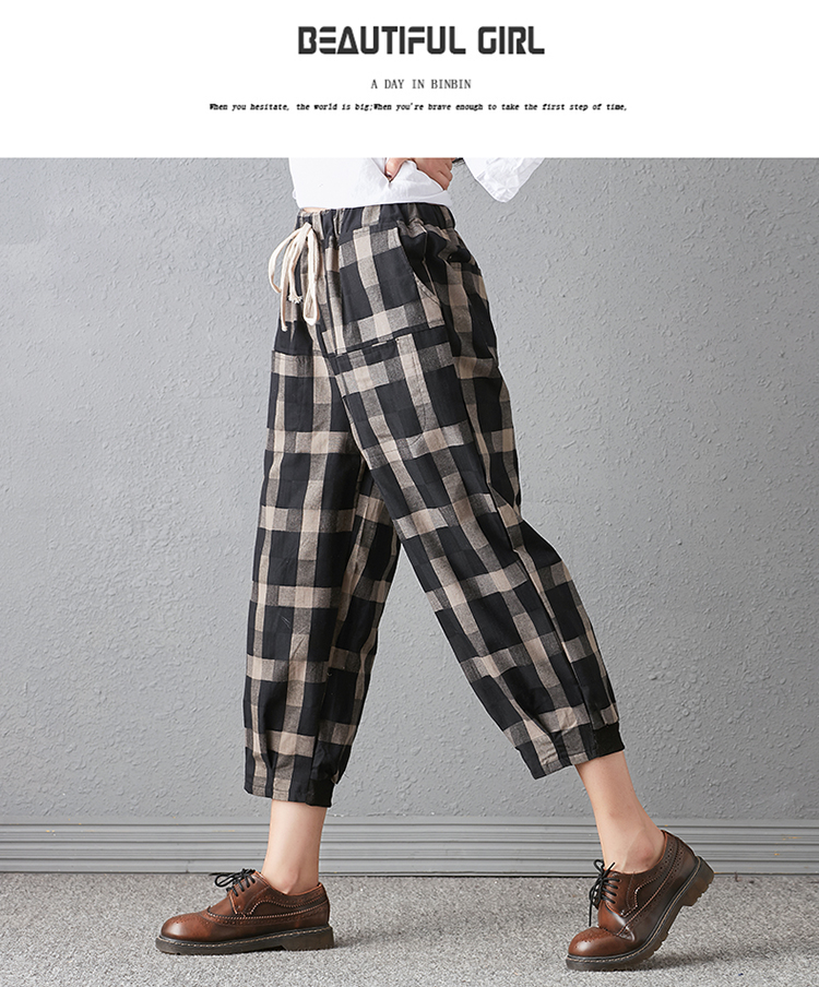 New 2018 Spring And Autumn Artistic Vintage Trousers Women Harlan Pants Woman Pants Loose Linen Pants For Women Plus Size Women 10