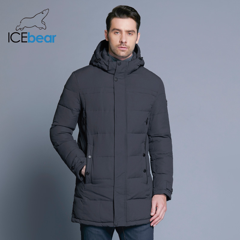 Icebear 2019 tecido macio inverno jaqueta masculina espessamento casacos de algodão casual inverno mid-long parka masculino roupas de marca 17md962d