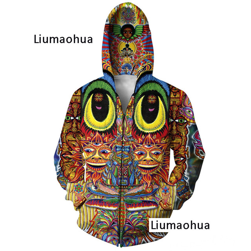 Liumaohua Sweatshirt 3d Printed Zip Hoodies Women Men Autumn Style Dinosaur Jumper Jacket Men's Clothing