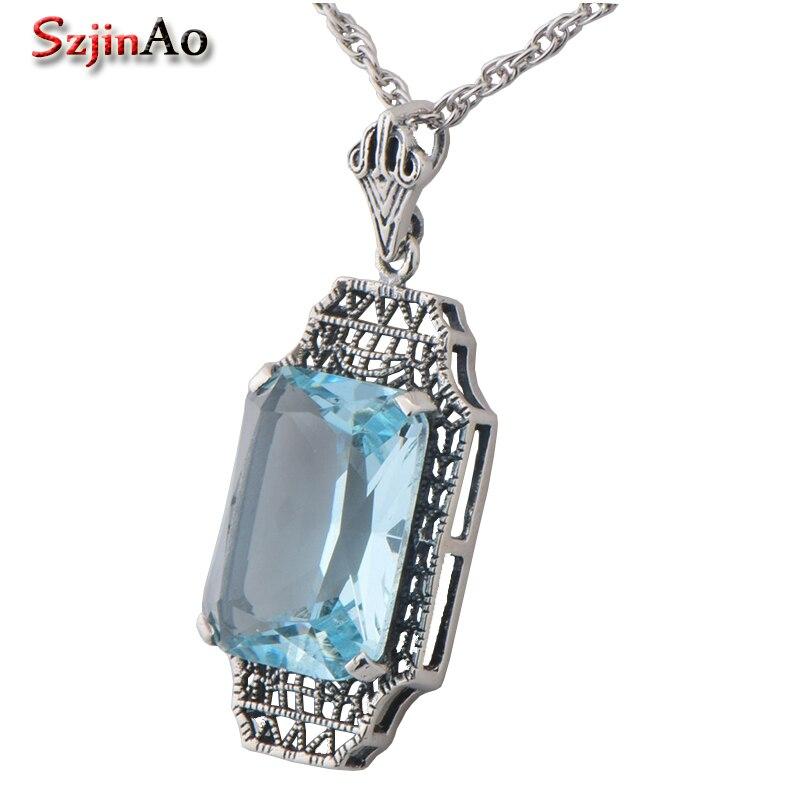Szjinao European punk retro austria aquamarine necklace jewelry accessories 925 sterling silver pendant wholesale