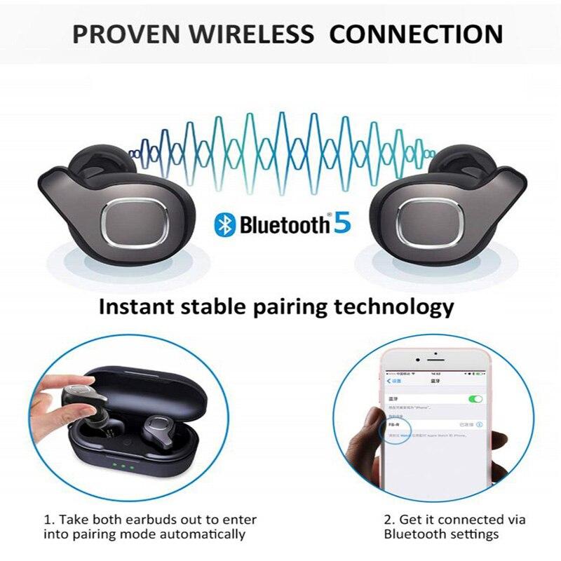 YULUBU F8 Bluetooth 5.0 Earphone Mini Sports True Wireless Earbuds with Mic TWS Earphones with Charging Box for Samsung iPhone - 6