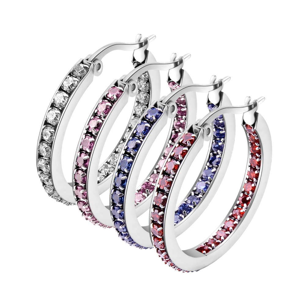 New Listing Classic 4 Color Full CZ Stone Charm Earrings For Women Ultra Light Weight Comfortable to Wear Hoop Cute Jewelry E010