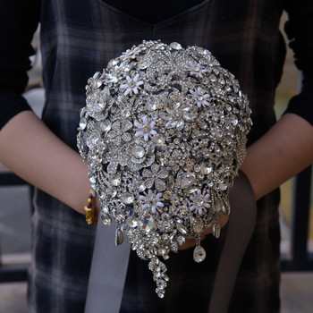 H&S BRIDAL Gray Wedding Bouquet Waterfall Stunning Luxury Rhinestone Crystal Vintage Bridesmaid Bridal Bouquet Women Decoration