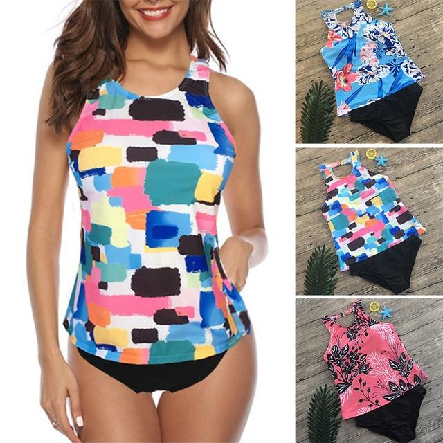 a0f905f27c86a 2019 Vintage print Tankini set Plus size Swimsuit Women's Swimwear Two  piece Bathing Suit Beachwear Swimming suit for Female 3XL